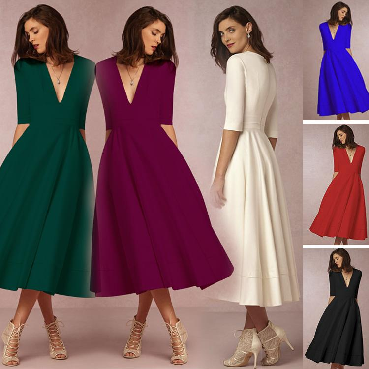 V-neck 3/4 Sleeves Solid High-waist Pleated Long Party Dress(Extra large code)
