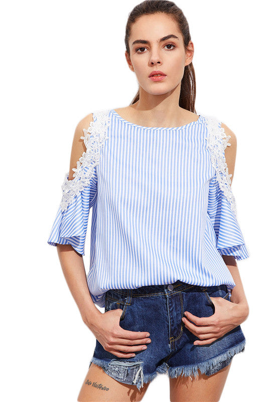 Striped Bear Shoulder Scoop Half Sleeves Blouse