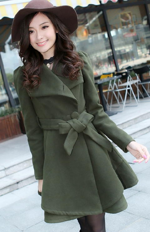 Stand Collar Belt Solid Cope Long Slim Coat - Oh Yours Fashion - 6