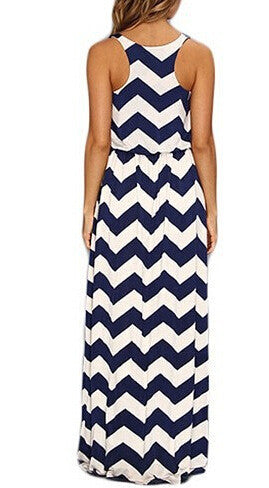 Striped Sleeveless Scoop Long Beach Dress - Oh Yours Fashion - 2