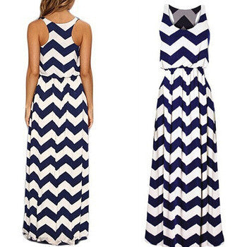 Striped Sleeveless Scoop Long Beach Dress - Oh Yours Fashion - 1