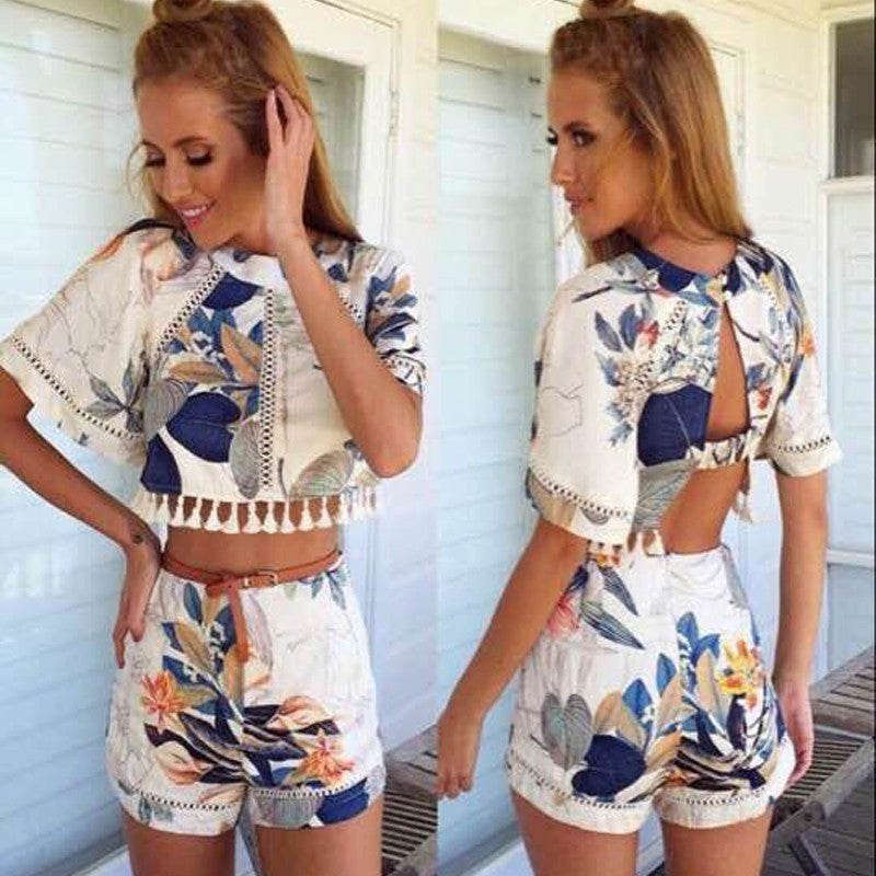 Hollow Out Print Tassel Short Sleeves Crop Top and Shorts Suit - Oh Yours Fashion - 1