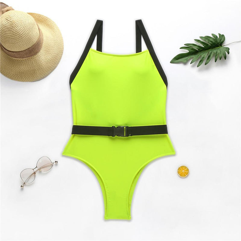 Bright Color Buckle Low Back High Cut Swimsuit