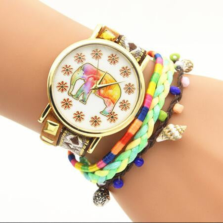 Elephant Print Colorful Strap Watch - Oh Yours Fashion - 6