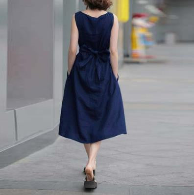 Fashion Cotton Linen Sleeveless Long Dress With Belt - Oh Yours Fashion - 3