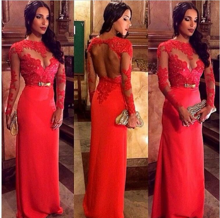 Long Sleeves Lace Bow Backless Long Evening Dress - Meet Yours Fashion - 1