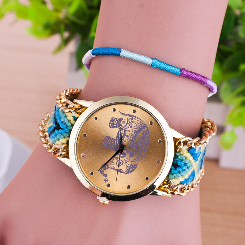 Hand-woven Elephant Rope Bracelet Watch - Oh Yours Fashion - 7