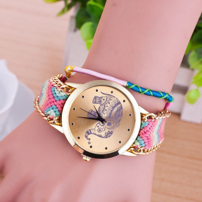 Hand-woven Elephant Rope Bracelet Watch - Oh Yours Fashion - 8
