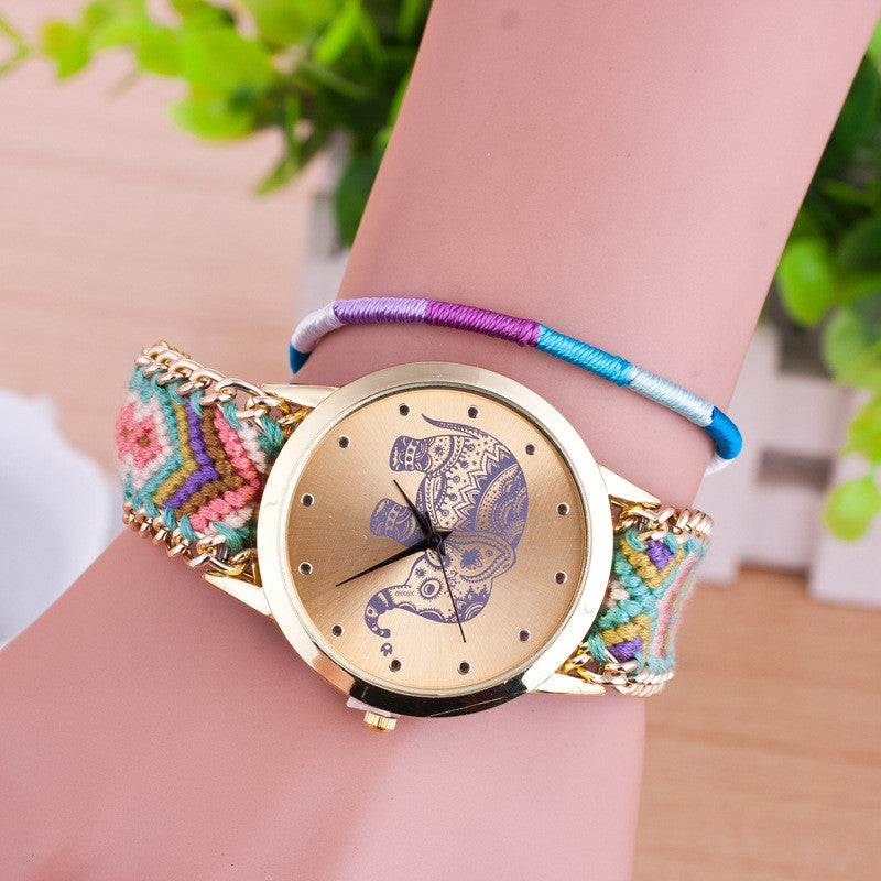Hand-woven Elephant Rope Bracelet Watch - Oh Yours Fashion - 6