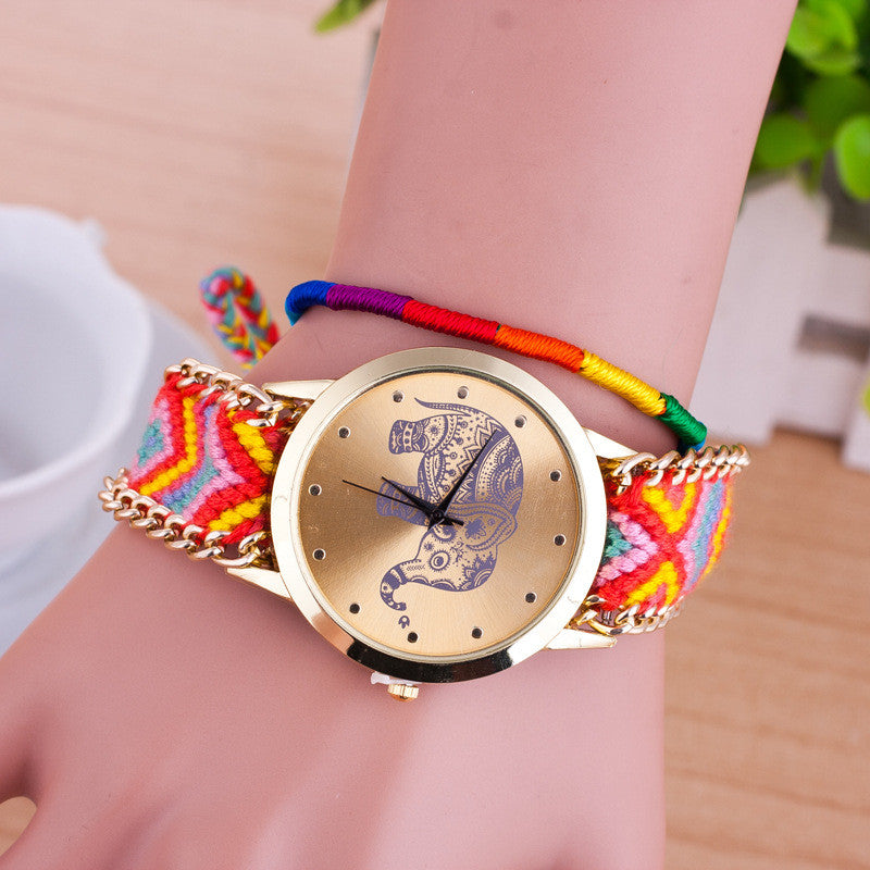 Hand-woven Elephant Rope Bracelet Watch - Oh Yours Fashion - 11