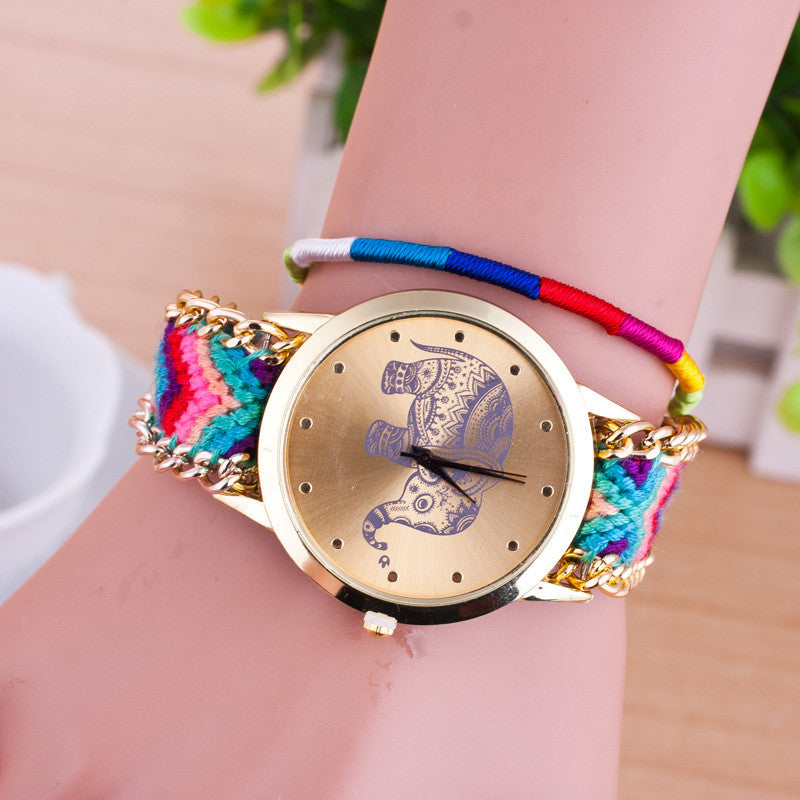 Hand-woven Elephant Rope Bracelet Watch - Oh Yours Fashion - 4