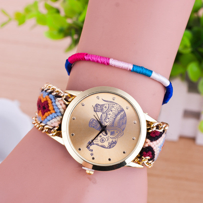 Hand-woven Elephant Rope Bracelet Watch - Oh Yours Fashion - 2