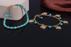 Bohemia Tophus Beads Blue Crystal Flower Tassel Anklet - Oh Yours Fashion - 3
