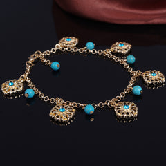 Bohemia Tophus Beads Blue Crystal Flower Tassel Anklet - Oh Yours Fashion - 2