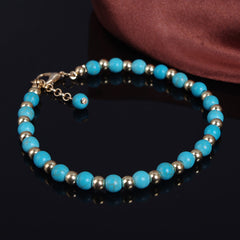 Bohemia Tophus Beads Blue Crystal Flower Tassel Anklet - Oh Yours Fashion - 5