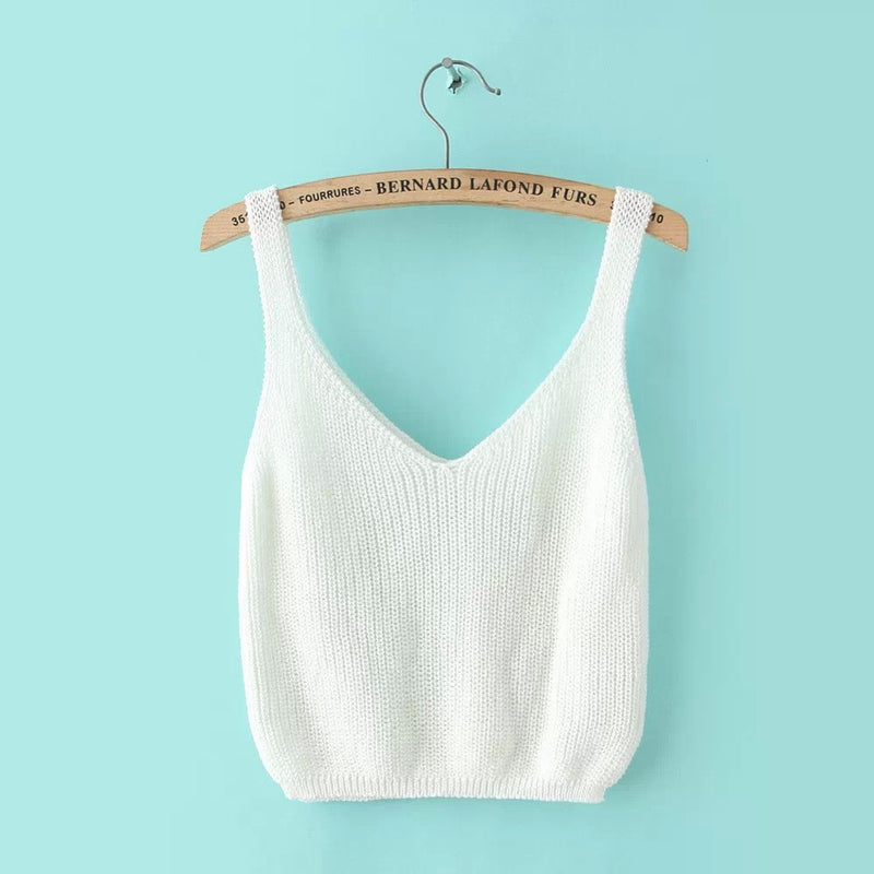 Knitting Spaghetti Strap V-neck Pure Color Vest - Oh Yours Fashion - 1