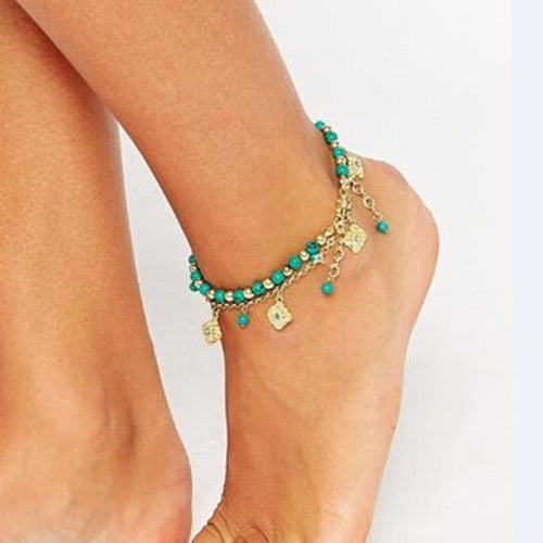 Bohemia Tophus Beads Blue Crystal Flower Tassel Anklet - Oh Yours Fashion - 1