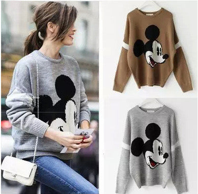 Mickey Print Fashion Scoop Long Sleeve Loose Students Sweater - Oh Yours Fashion - 1