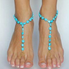 Blue Tophus Beads Single Anklet - Oh Yours Fashion - 1