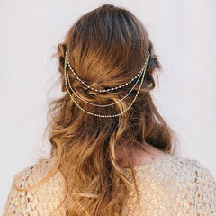 Luxury Bride Crystal Pearl Beads Tassel Chain Multilayer Manual Hair Clips - Oh Yours Fashion - 1