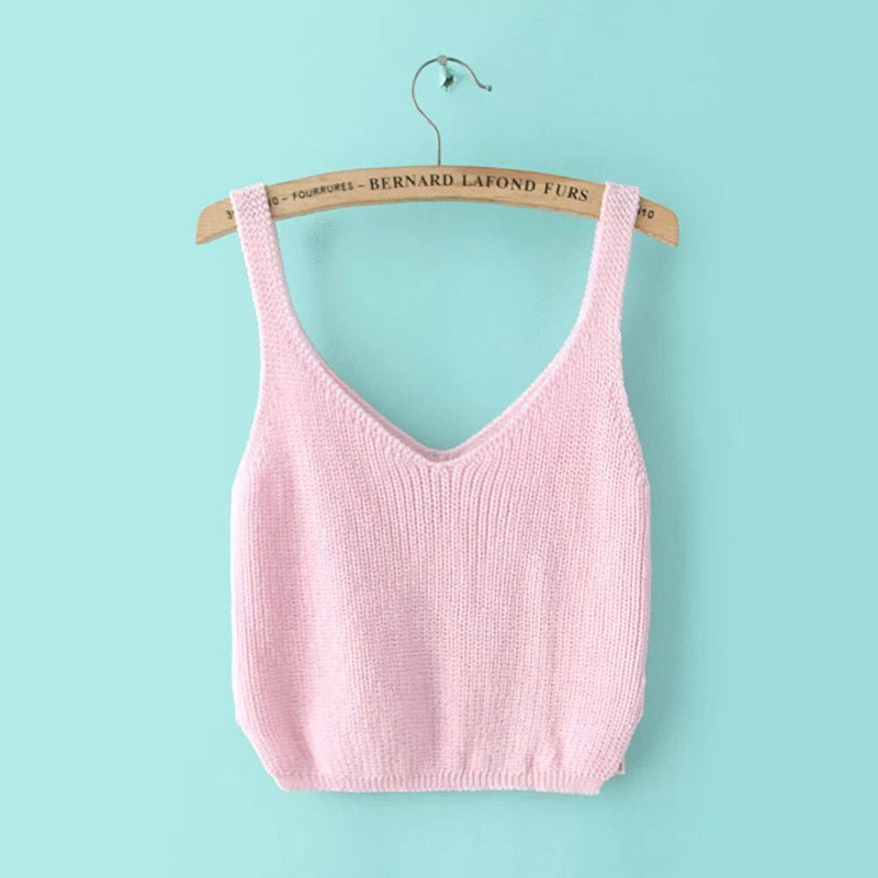 Knitting Spaghetti Strap V-neck Pure Color Vest - Oh Yours Fashion - 7