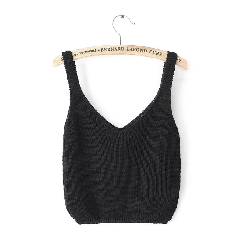Knitting Spaghetti Strap V-neck Pure Color Vest - Oh Yours Fashion - 6