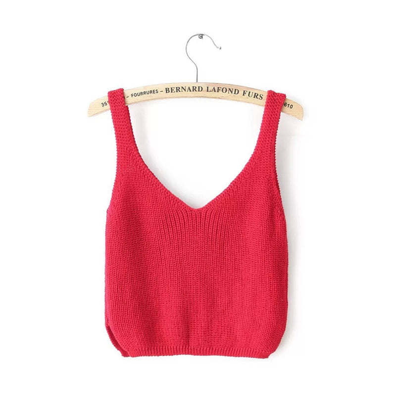 Knitting Spaghetti Strap V-neck Pure Color Vest - Oh Yours Fashion - 4