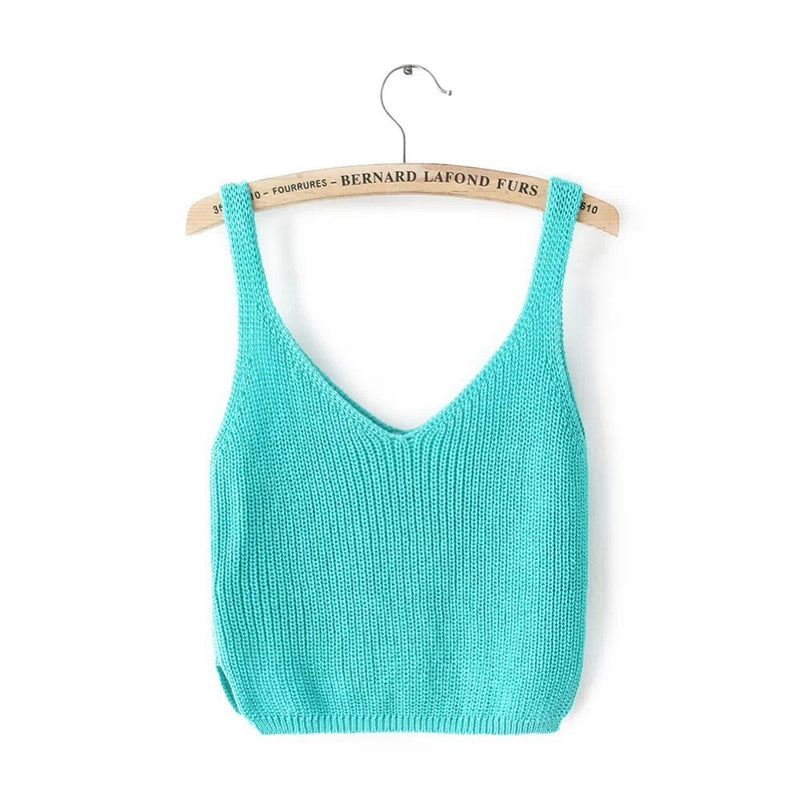Knitting Spaghetti Strap V-neck Pure Color Vest - Oh Yours Fashion - 8