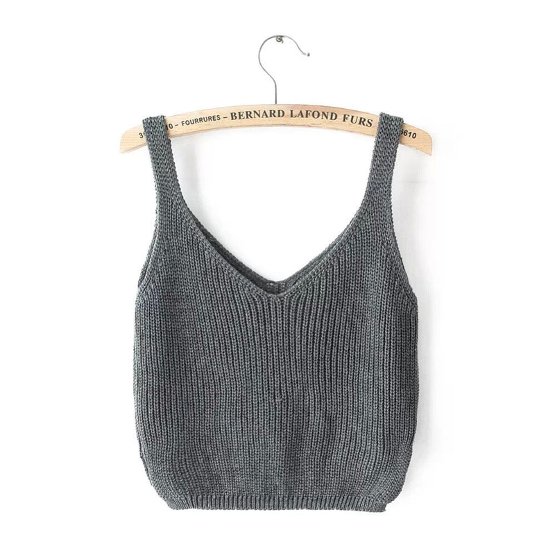 Knitting Spaghetti Strap V-neck Pure Color Vest - Oh Yours Fashion - 5