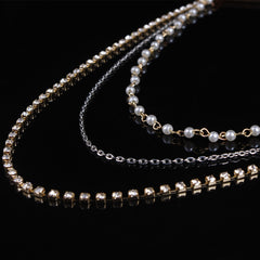 Luxury Bride Crystal Pearl Beads Tassel Chain Multilayer Manual Hair Clips - Oh Yours Fashion - 3