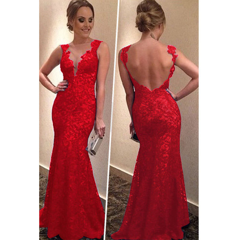 Backless Women's V-neck Formal Long Dress - O Yours Fashion - 5