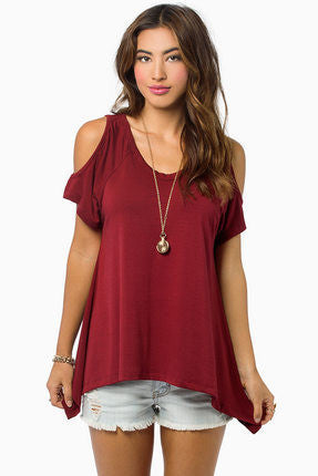Dew Shoulder Irregular Loose Blouses - Oh Yours Fashion - 6