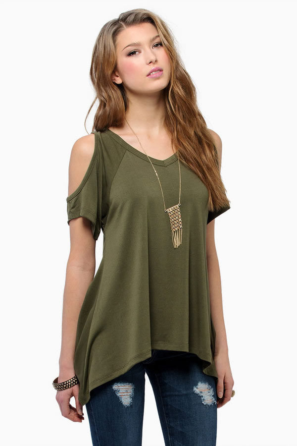 Dew Shoulder Irregular Loose Blouses - Oh Yours Fashion - 5