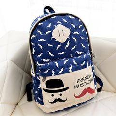 Mustache Print Fashion Backpack School Bag - Oh Yours Fashion - 4