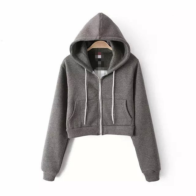 Slim Zipper Cardigan Short Solid Color Hoodie - Oh Yours Fashion - 4
