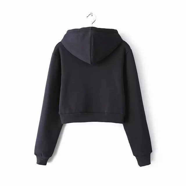 Slim Zipper Cardigan Short Solid Color Hoodie - Oh Yours Fashion - 7