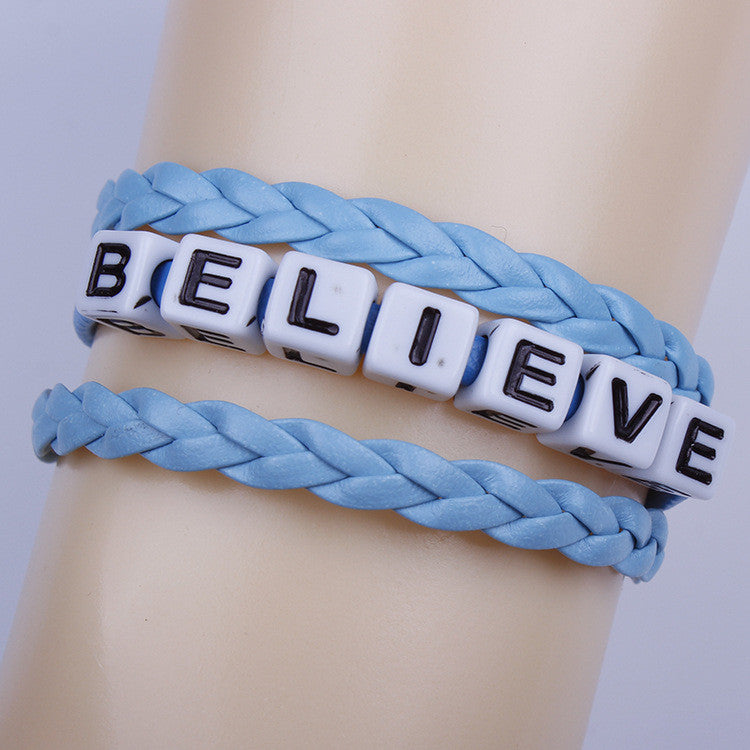 Believe Letter String Woven Bracelet - Oh Yours Fashion - 1