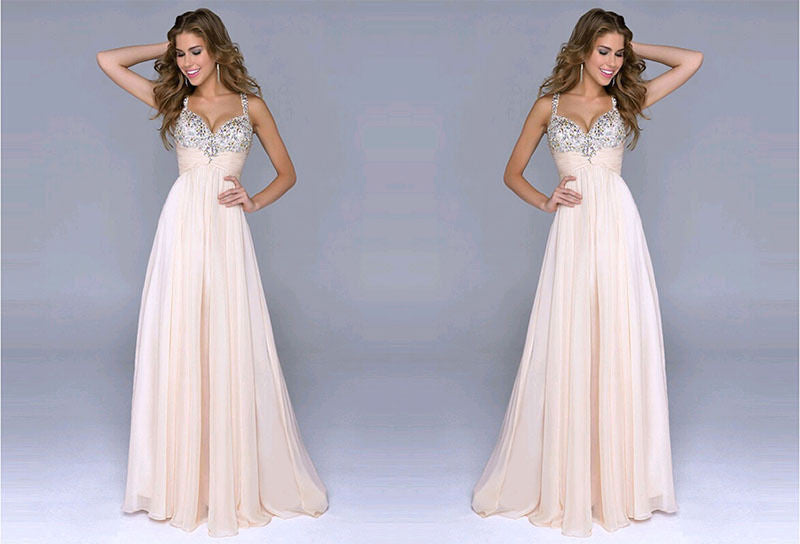 Pleated Straps Sequined Ruched Long Prom Dress - Oh Yours Fashion - 4