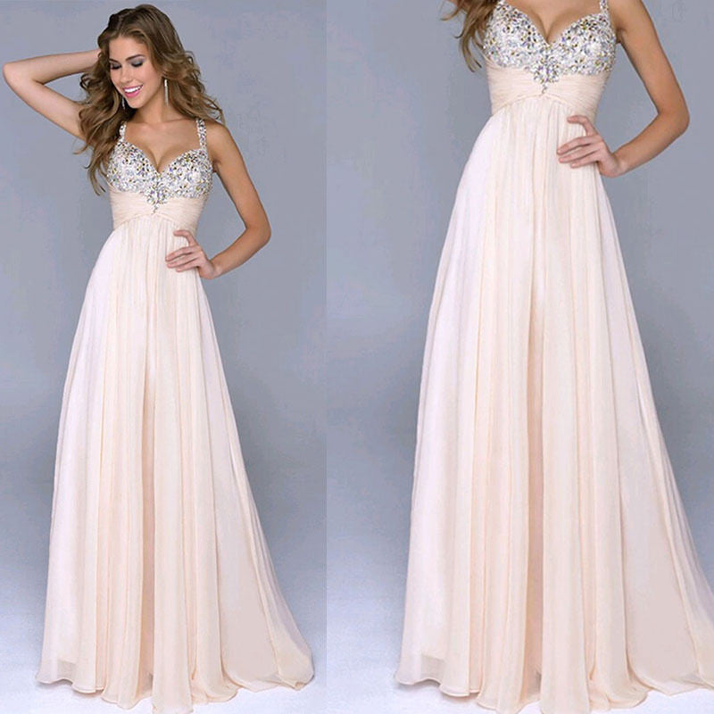 Pleated Straps Sequined Ruched Long Prom Dress - Oh Yours Fashion - 1