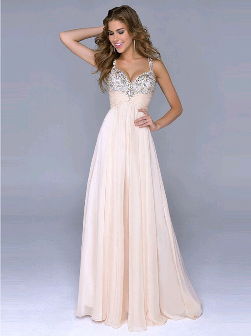 Pleated Straps Sequined Ruched Long Prom Dress - Oh Yours Fashion - 2