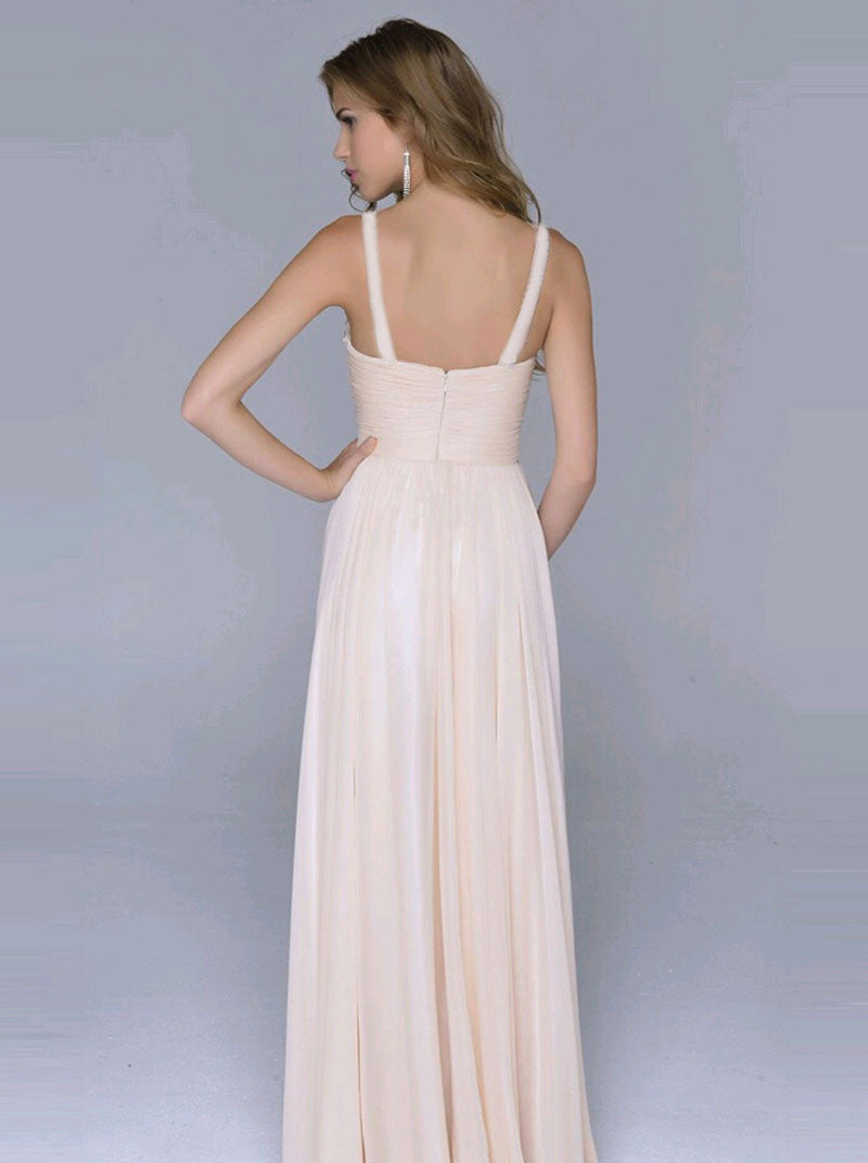 Pleated Straps Sequined Ruched Long Prom Dress - Oh Yours Fashion - 3