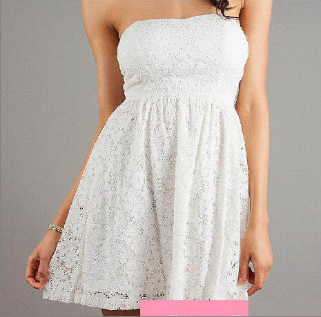 Strapless Backless Lace Short Dress - Oh Yours Fashion - 1