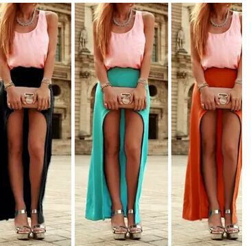 Irregular Sexy Hole Beach Pure Color Long Skirt - Oh Yours Fashion - 1