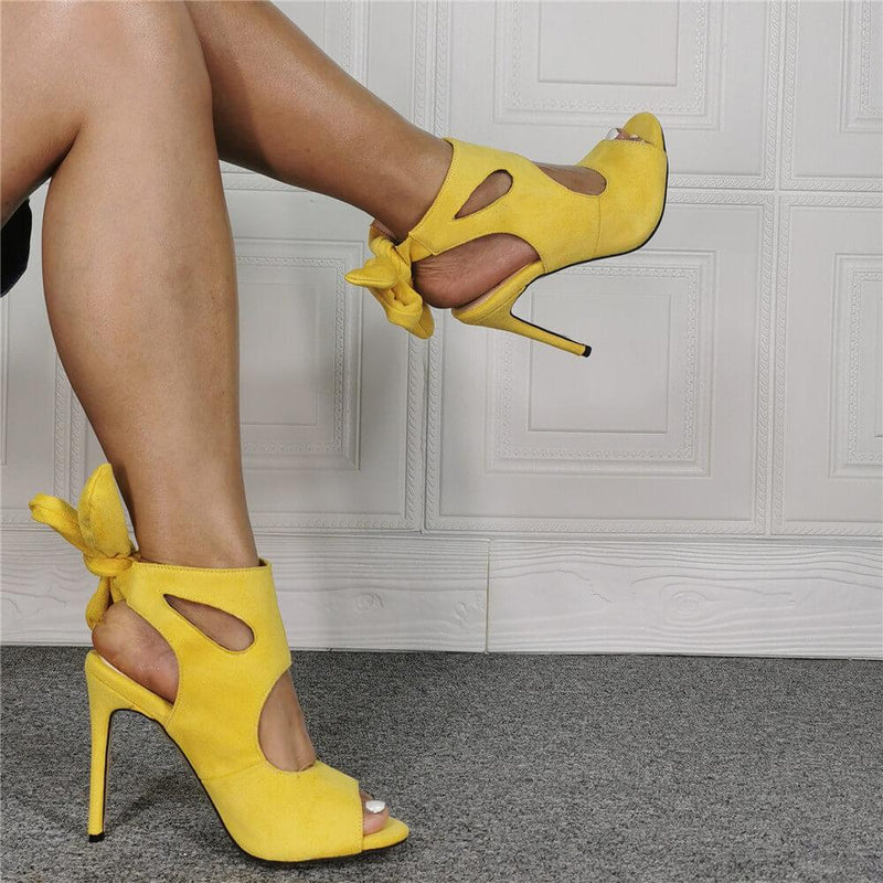 Yellow Suede Open Toe Strap Cutout High Heel Sandals