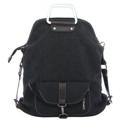 Foldable Pure Color Leather Hardware Canvas Backpack - Oh Yours Fashion - 4
