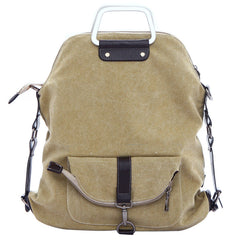 Foldable Pure Color Leather Hardware Canvas Backpack - Oh Yours Fashion - 5