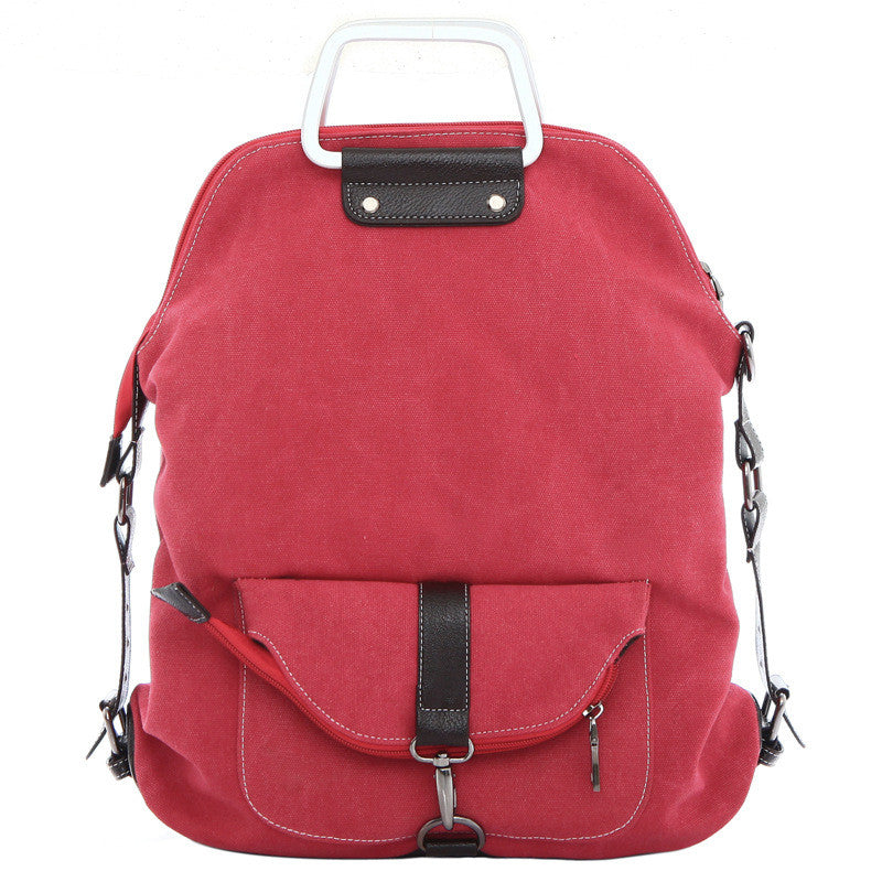 Foldable Pure Color Leather Hardware Canvas Backpack - Oh Yours Fashion - 1