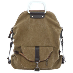 Foldable Pure Color Leather Hardware Canvas Backpack - Oh Yours Fashion - 2