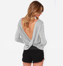 Backless Scoop Bat-wing Sleeves Back Cross Casual T-shirt