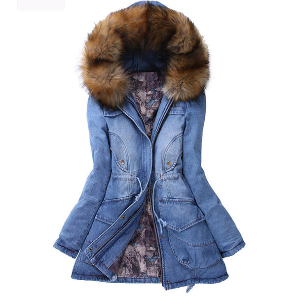 Big Wool Hooded Drawstring Jean Mid-length Cotton Coat - Oh Yours Fashion - 1
